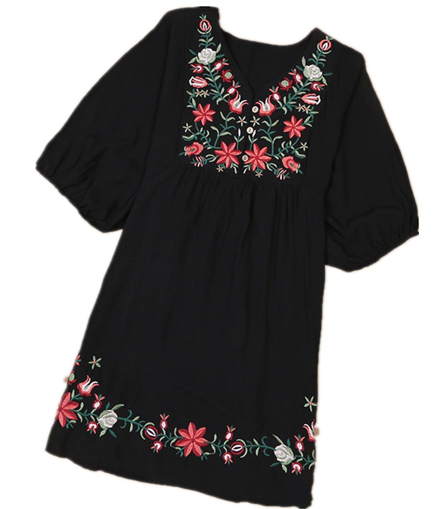 Kafeimali Summer Dress V Neck Mexican Embroidered Peasant Women's Dressy Tops Blouses (Black) by Kafeimali