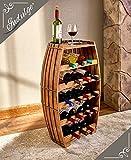Beautiful 18-Bottle Wood Barrel Wine Rack & Serving Table Cask Bottle Holder For Sale