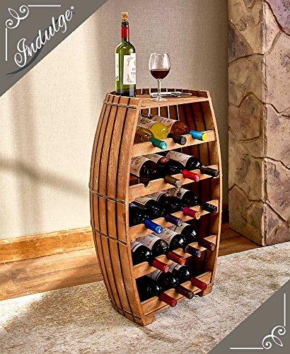 Beautiful 18-Bottle Wood Barrel Wine Rack & Serving Table Cask Bottle Holder