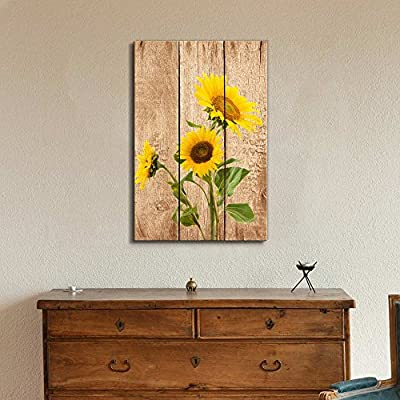 Tall Yellow Sunflowers Over Wood Panels - Nature - Canvas Art Home Art - 32x48 inches