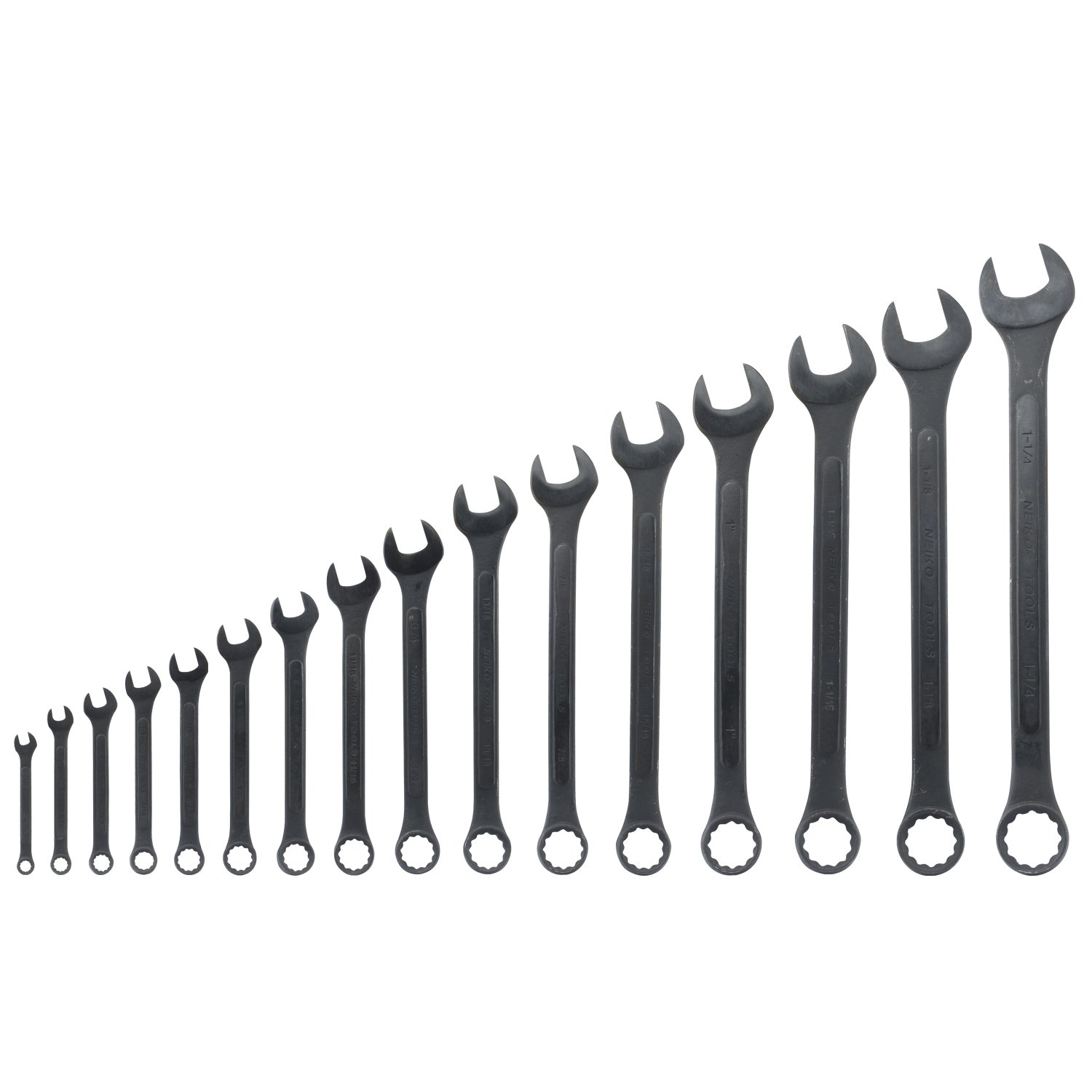 Neiko 03574A SAE Raised Panel Combination Wrench Set, 16 Piece | 12 Point Box End | 6-32 mm