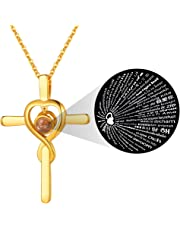 FaithHeart Love Necklace Nanotechnology Onyx Pendant, Gold Plated Copper 100 Languages Praying Hand Saint Michael The Archangel Necklaces for Women Men (Gift Packaging)