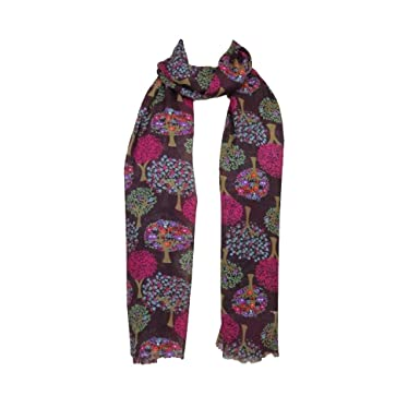 e6515df25 Image Unavailable. Image not available for. Colour: The Olive House® Womens  Mulberry Tree Scarf Print Scarf in Plum