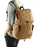 Huluwa Men's Backpack Canvas Vintage Backpack Men Rucksack Travel Bag School Bag Computers Laptop Backpack, Khaki