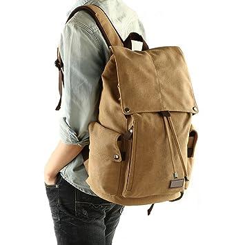 huluwa Hombres Mochila de lona vintage mochila hombres mochila bolsa de viaje escolar Bolsa ordenador portátil mochila caqui: Amazon.es: Electrónica
