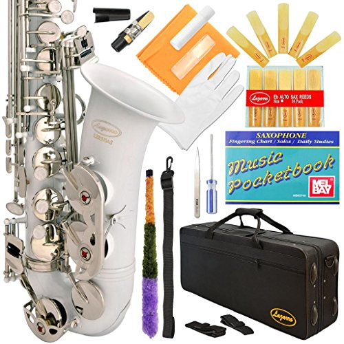 Lazarro 370-WH E-Flat Eb Alto Saxophone White-Silver Keys with Case, 11 Reeds, Care Kit and Many Extras - Flat Alto Saxophone