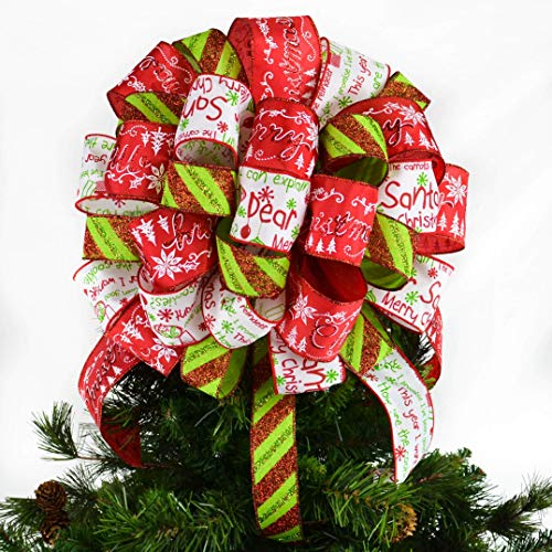 Dear Santa Christmas Tree Bow Topper   Present Bow   Tree Topper Bow   Red Lime Green White : TB13 ()