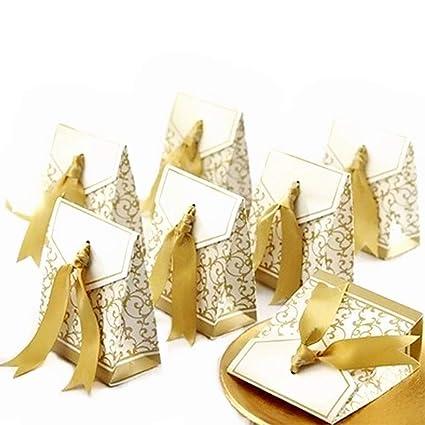 JZK 50 x Dorado papel cajas de favor partido caja regalo para los favores, los