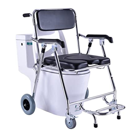 Wheeled Commode Over Toilet Chair With Aluminum Alloy Shower Potty