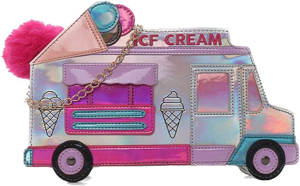 MILATA Ice Cream Cart Shaped Holographic Crossbody Bag Purse Chic Handbag for Women Girls with Pompom
