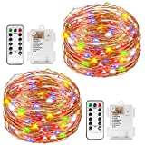 2 Set Multi-color Fairy String Light Battery Operated Remote Control Waterproof Kohree 8 Modes 60 LED String Light 20ft Copper Wire Firefly Rope Lights For Parties, Wedding, Festival Decorations