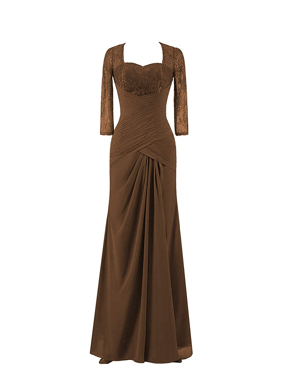 Brown Mother of The Bride Dresses with Long Sleeves Plus Size Evening Gown Lace Mothers Dress Formal Gowns