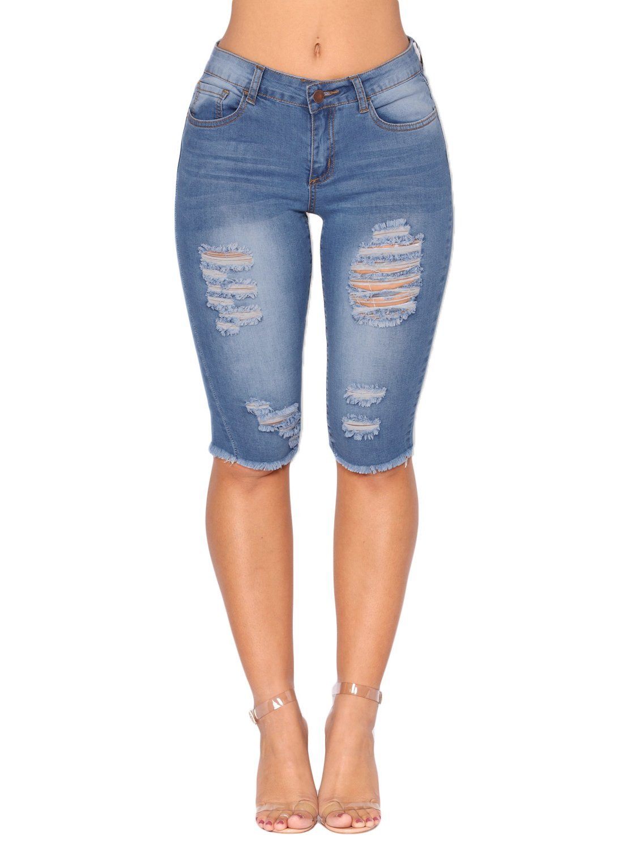 Sidefeel Women Casual Frayed Destroy Bermuda Denim Short Jeans Large Light Blue