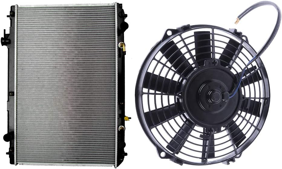 SCITOO Radiator+Cooling Fan Assembly Compatible with 2001-2007 Toyota Highlander 2.4L