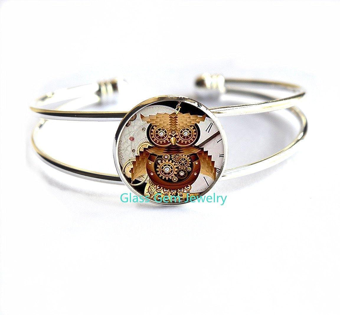 Steampunk Owl clock Bracelets personality Bracelets charms round glass dome Bracelets Jewelry,Q0129