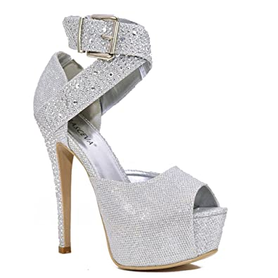 677ce67d475 Chic Feet Ladies Sexy Silver Shimmer Sparkly Diamante Studs Ankle Strap  Platform High Heels Peep Toe