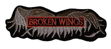 "Broken wings 4""x 2"" motorcycle biker uniform patch | dragonfly."
