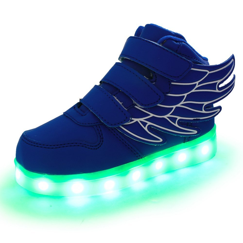 LED Light Up Shoes USB Flashing Sneakers with Wing Dance Shoe for Boys Girls Christmas (Blue 1.5 M US Little Kid)