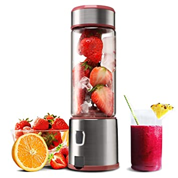 Personal Glass Smoothie Blender, Kacsoo S610 USB Rechargeable Portable Blender Juicer Cup, Single Serve Fruit Mixer, Small Travel Blender for Shakes ...