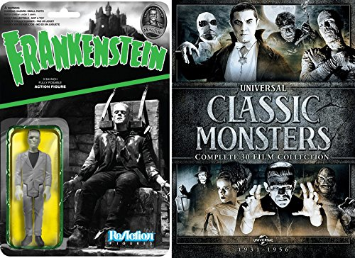 Monster Box Set Universal Creatures 30 Films + Frankenstein Figure / DVD Collection Wolf Man / Dracula / Invisible Man / The Mummy & More (Universal Monsters Coffin)