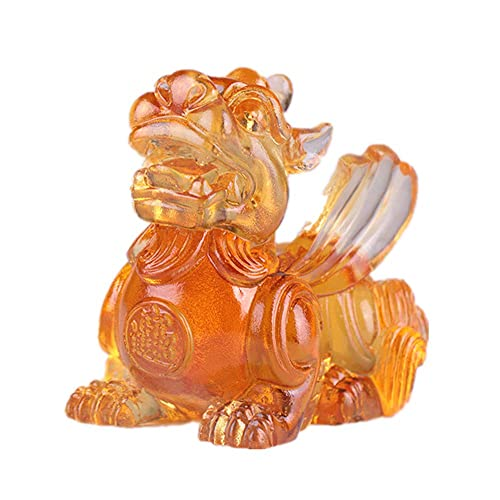 Feng Shui Colored Glaze Pixiu Pi Yao Figure Home Office Decoration Symbol Wealth Amber