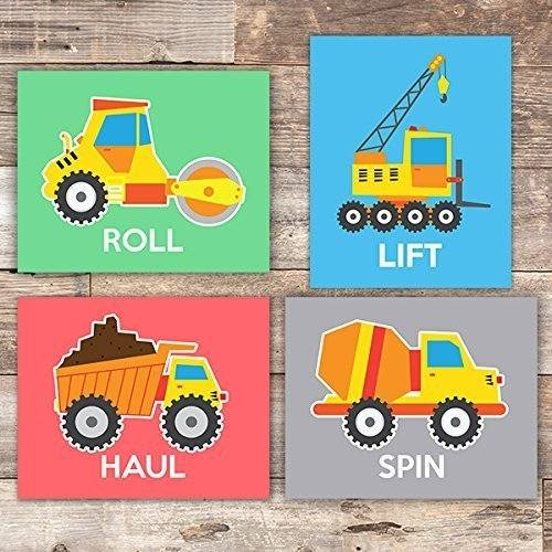 (Boys Construction Trucks Set (Haul, Lift, Roll, Spin) Art Prints (Set of 4) - Unframed - 8x10s)
