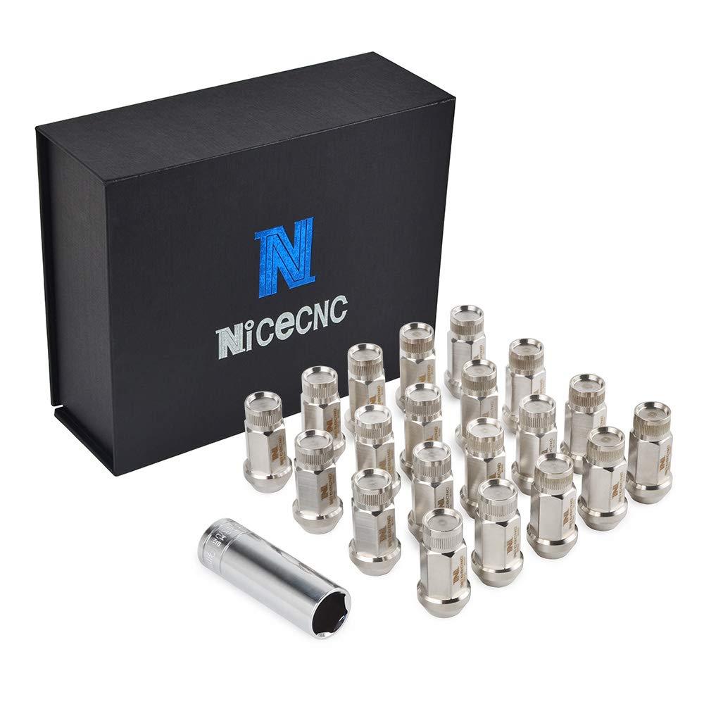 Nicecnc 20PCS 12x1.25MM T304 Stainless Steel Anti-Rust,Corrosion Wheel Lug Nuts & Tool Replace Infiniti G35/37 Q50/60/70 BRZ Impreza Forester,Nissan 370Z GTR Rouge Teana Sylphy Altima 370Z 350Z by NICECNC (Image #1)