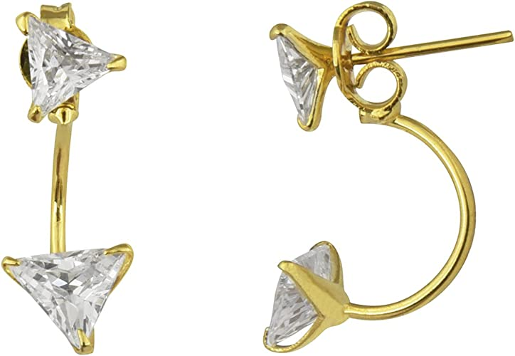 Efulgenz Stud Earrings 14 K Gold Plated Hypoallergenic Cubic Zirconia Studs Pierced
