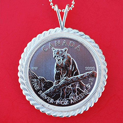 2012 Canada .9999 Fine Silver 1 Oz Argent Pur 5 Dollars Wildlife Bullion Coin Solid 925 Sterling Silver Necklace NEW - Cougar by jt6740