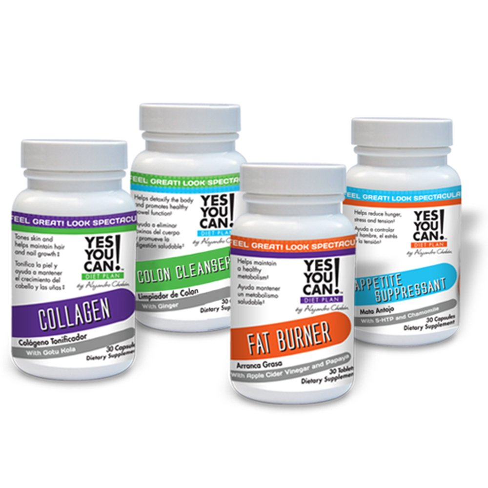 Yes You Can! Diet Plan Supplement Kit with Fat Burner, Collagen, Colon Cleanser and Appetite Suppressant - 30 Capsules Each Bottle - 1 Month by Yes You Can