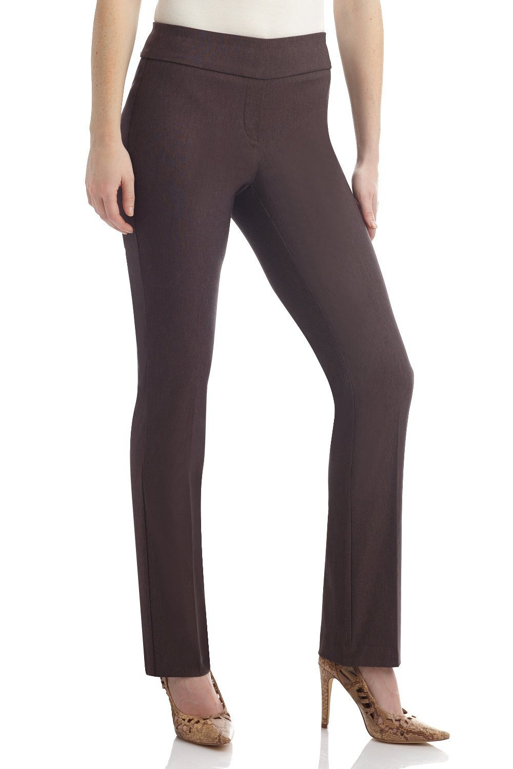Rekucci Women's Ease in to Comfort Straight Leg Pant with Tummy Control (8SHORT,Brown Mix)
