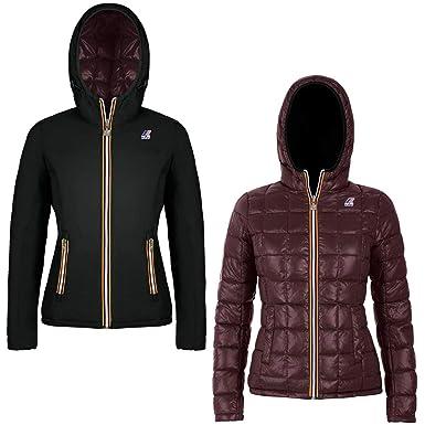 e16d34a6b1e0 K-Way Brown and Black Reversible Jacket, Femme.  Amazon.fr ...