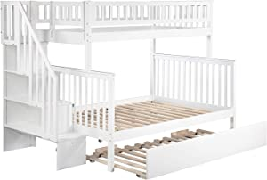 Atlantic Furniture Woodland Staircase Bunk Twin Size Urban Trundle Bed, Full, White