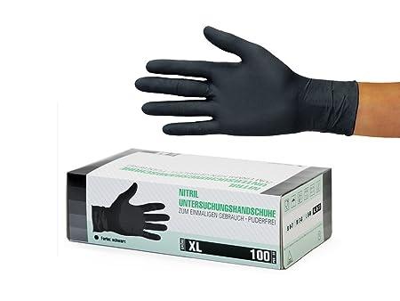 Nitrilhandschuhe 100 Stück Box (XL, Schwarz) Einweghandschuhe, Einmalhandschuhe, Untersuchungshandschuhe, Nitril Handschuhe,