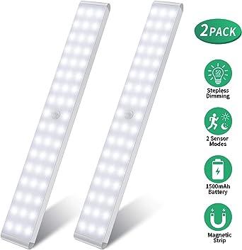 Luz Nocturna, 50 LEDs Led Armario con Sensor de Movimiento Recargable 4 Modos con Cinta Adhesiva Magnética para Armario, Pasillo, Estantería, Escalera: Amazon.es: Iluminación