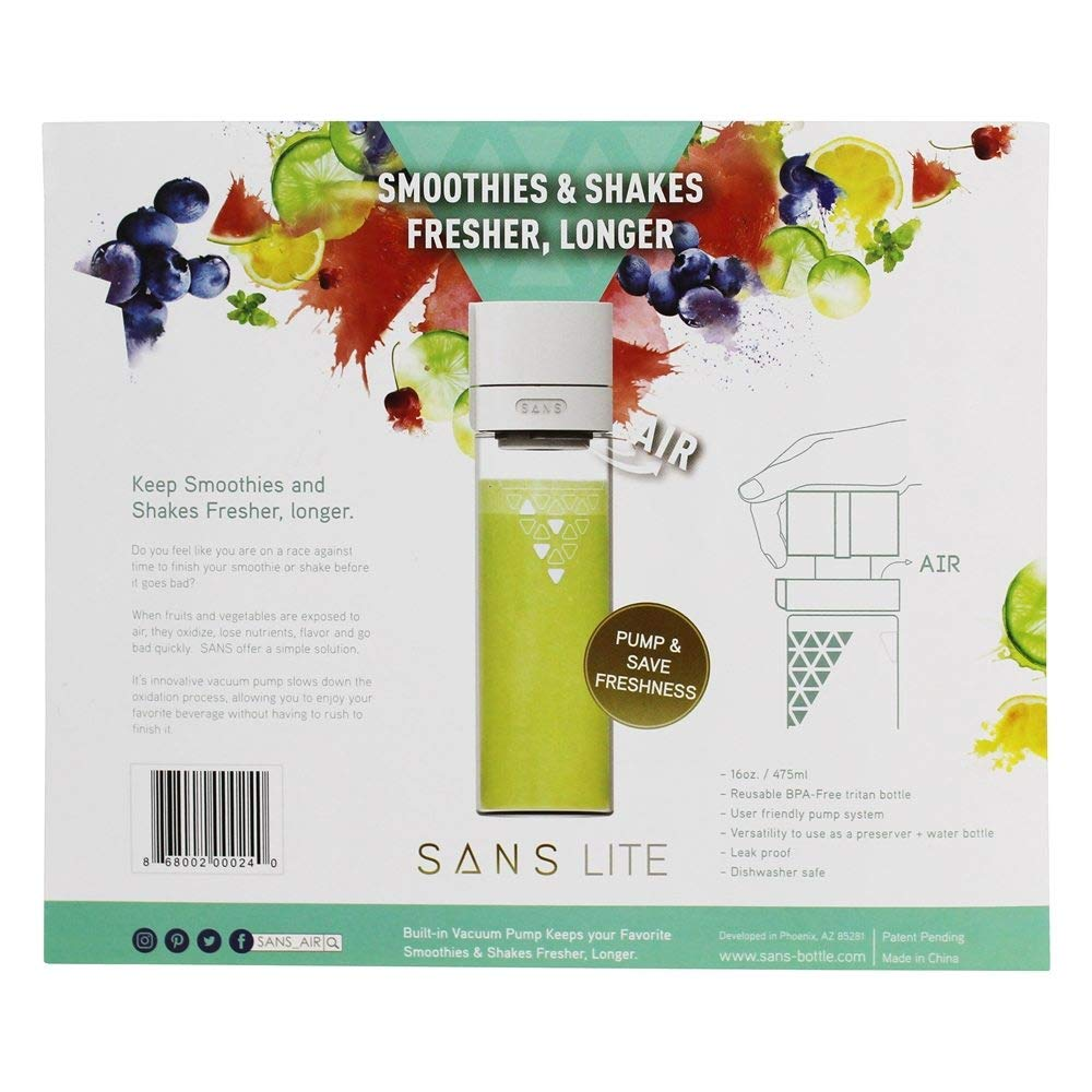 SANS Lite 16oz  Reusable and Leak-Proof Smoothie and Shake Preserver and  Vacuum Sealed Triton Plastic Bottle