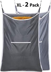 Chrislley 2 Pack Hanging Laundry Hamper Bag Hanging Bag for Laundry Over The Door Laundry Hamper Hanging Laundry Basket (Dark and Light Grey)