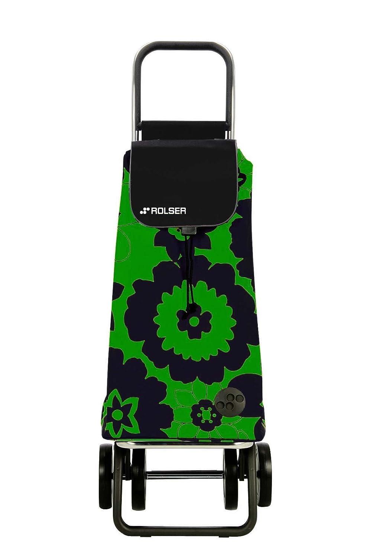 Rolser Pack Flor Logic Dos+2 Carro Plegable de 4 Ruedas Aluminio Ligero y poli/éster 32.0x39.0x106.0 cm Verde//Negro