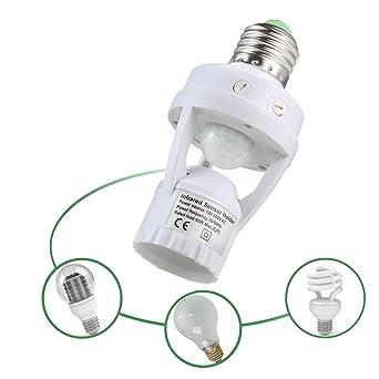 Portalámparas,niceEshop(TM) E27 PIR Sensor de Movimiento Cuerpo Humano de Inducción LED