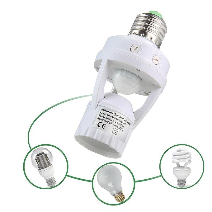 Amazon.com: Aolvo Infrared Motion Light Sensor Socket PIR Automatic LED Lights Switches E27 Lamp Holder Screw Bulb Socket LD120: Home & Kitchen