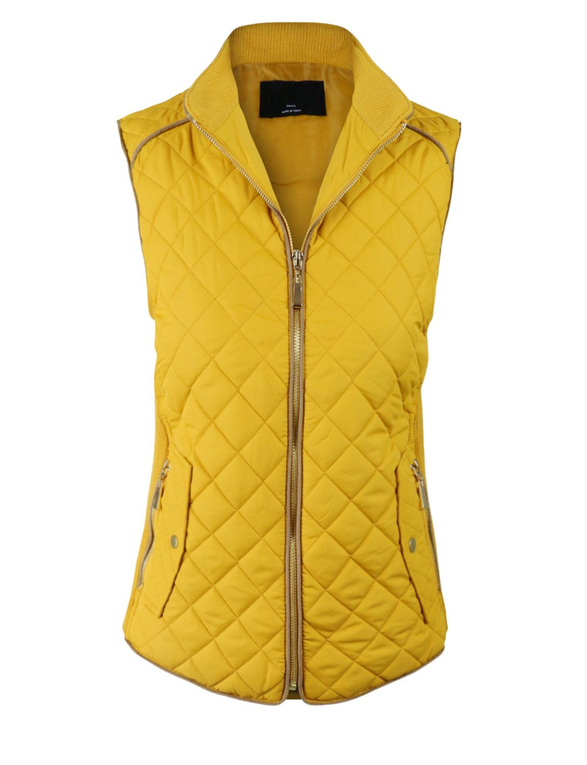 makeitmint Women's Basic Solid Quilted Padding Jacket Vest w/ Pockets Small YJV0002_Mustard