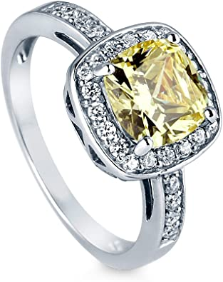 BERRICLE 925 Silver Cushion Canary Yellow CZ Halo Engagement Ring 3.42 Carat