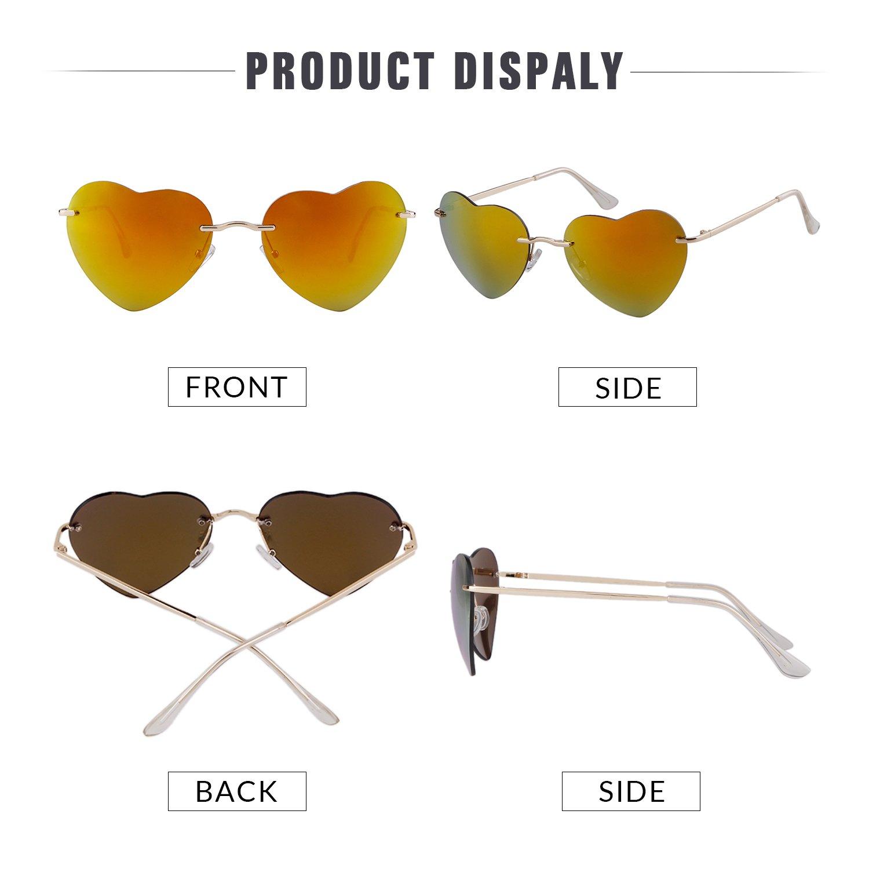 c63b47988421 ADEWU Girls' Heart Shape Ocean Color Rimless Beach Sunglasses 62*18*135 23g  Gold: Amazon.co.uk: Clothing