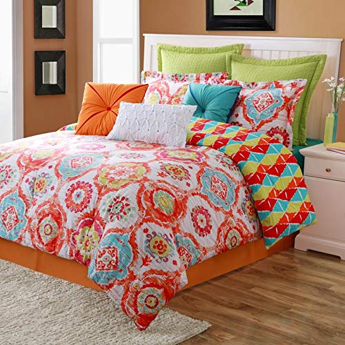 (HNU Full Comforter Set, 4 Piece Casual Style Girls Bohemian Reversible Bedding, Medallion Pattern Enlivens Look Bedskirt Including Lime Green Turquoise Blue Tangerine Orange Dark Red Multi Color )