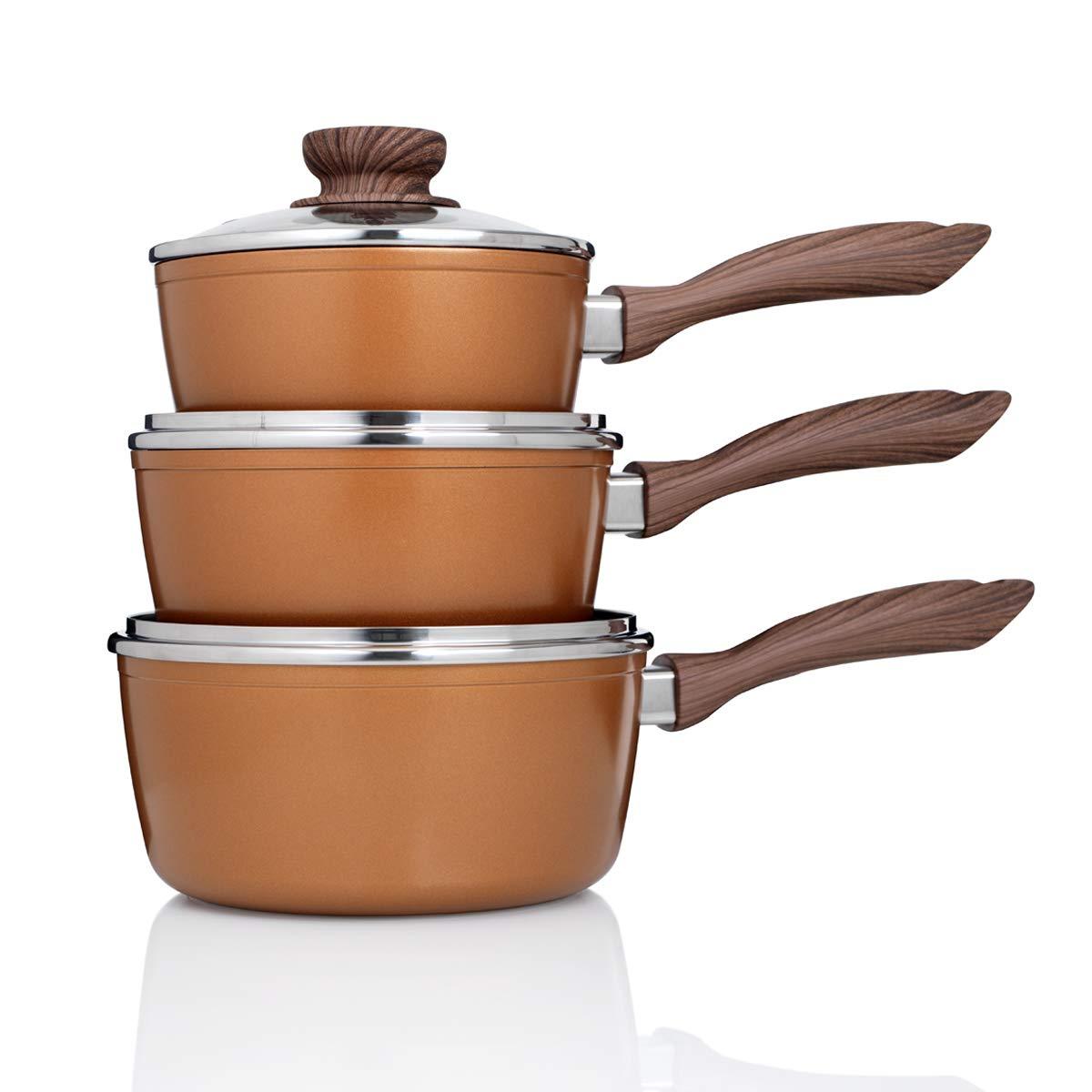 JML Copper Stone Pans: Saucepans (8 pcs) A000273