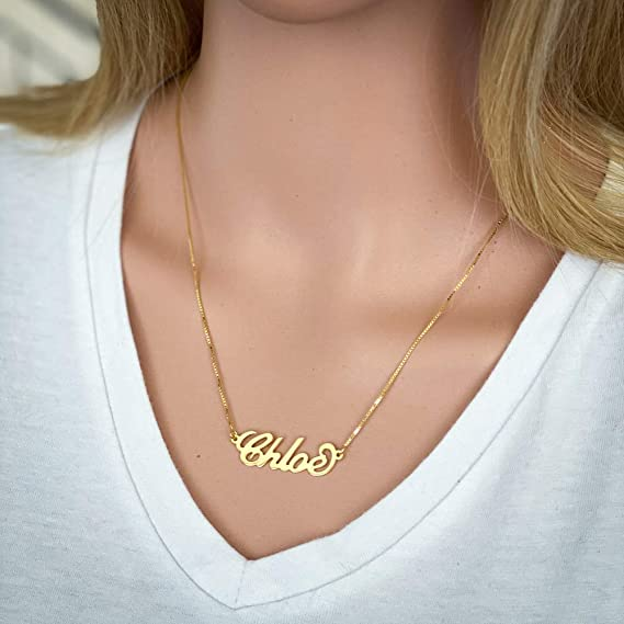 Customized Name Necklace3D Style Name Necklace14K Gold Overlay Sterling Silver Nsme NecklacePersonalized Name NecklaceBar Necklace Gold
