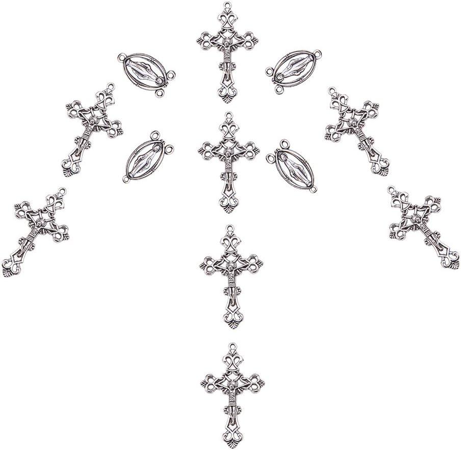 sans Plomb et sans Cadmium et sans Nickel Pandahall Elite 10/Sets Ovale avec Vierge Sainte Rosaire Centre pi/èces Lustre et Liens Crucifix Pendentifs Argent Antique,Chandelier Links