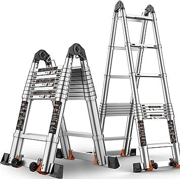 DD Escalera Telescópica, Escalera Plegable Aleación Aluminio, Levantando Escaleras Escalera Ingenieria Multifuncional Portátil, Multi-estilo (Tamaño : 2.5+2.5=straight 4.95m (16.24 ft)): Amazon.es: Bricolaje y herramientas