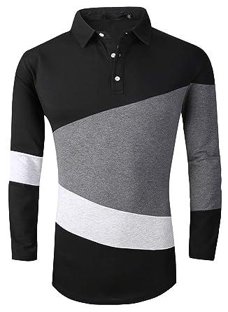 b3320a51 FRTCV Mens Polo Shirt Long Sleeve Casual Fit Rugby Golf T-Shirts 1281 Black  Asian