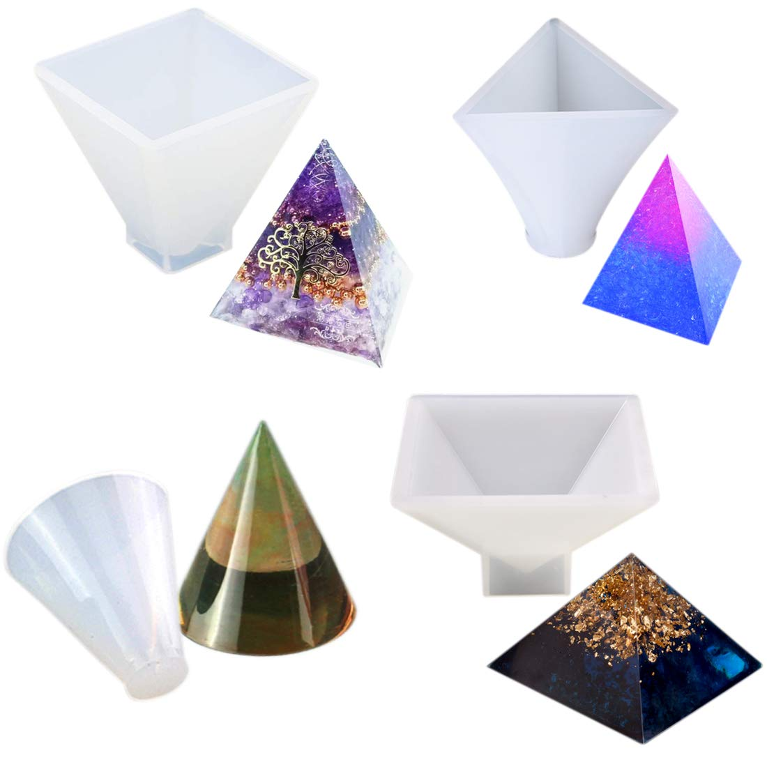 C/ône Bricolage Artisanat Faire FineInno 4 Pi/èces Moule Resine Silicone Moule Epoxy Casting Mold DIY Compris Pyramide c/ône